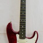 Red Fender Stratocaster Guitar USA - signed by The Rolling Stones