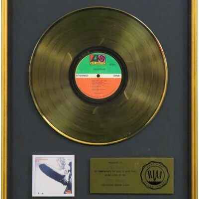 Led Zeppelin Debut Album RIAA Gold Award Gold Presented To Jimmy Page