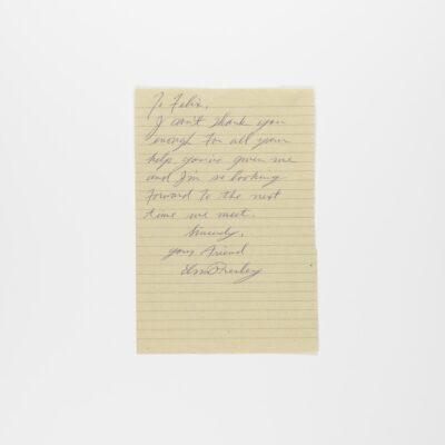 Handwritten Letter by Elvis Presley