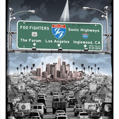 "EMEK - 2015 Foo Fighters ""L.A. Freeway"" - The Forum Silkscreen Concert Poster"
