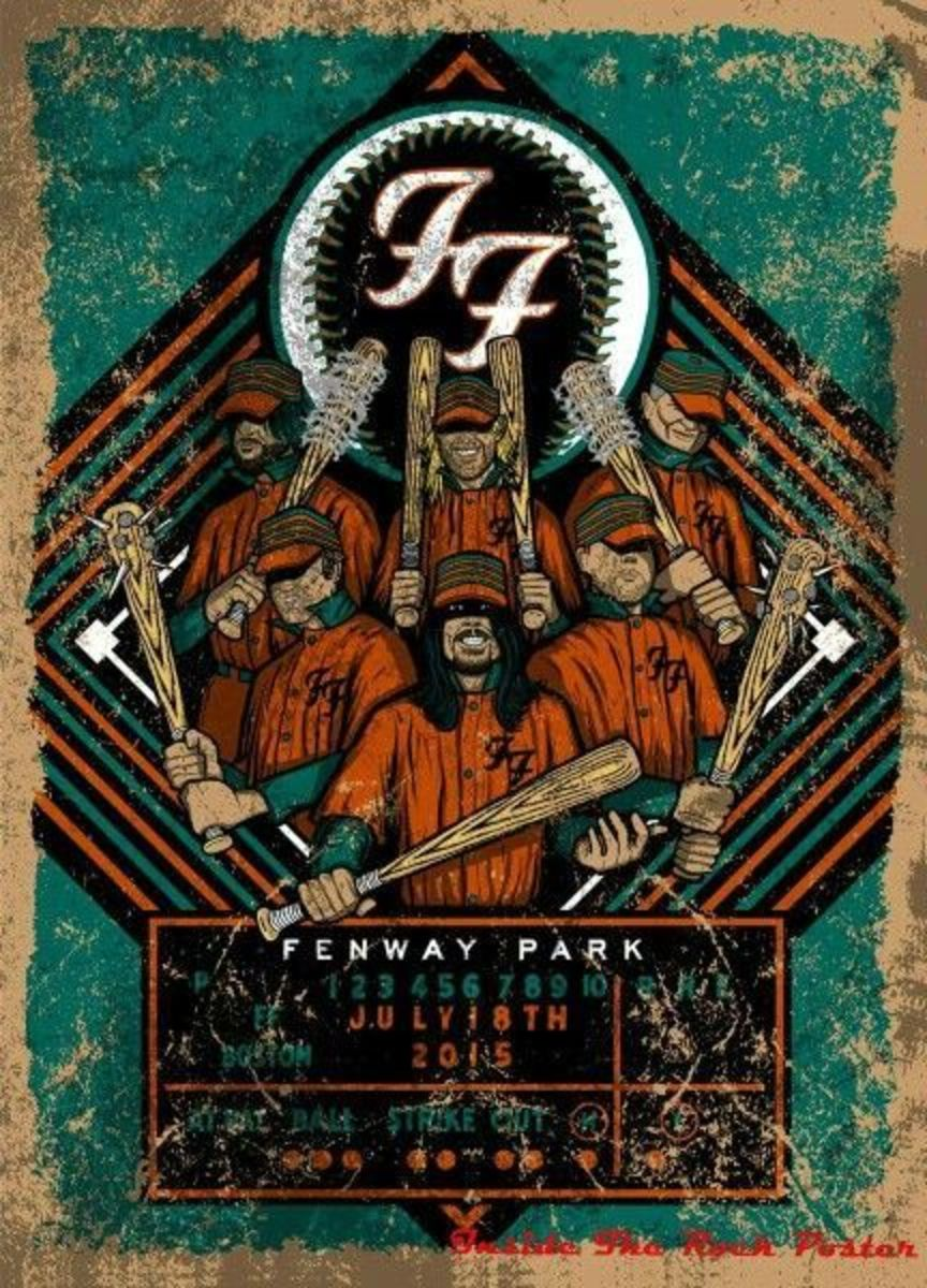 Foo Fighters - 2015 Fenway Park, Boston Limited Edition Silkscreen Concert Poster