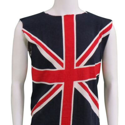 British Union-Jack Flag sleevless Shirt, Stage Worn by Alice Cooper