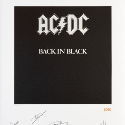 AC/DC - Back in Black signed Limited Fine Art Print by Bob Defrin - Signed By: Phil Rudd, Malcolm And Angus Young, Brian Johnson and Cliff Williams In Black Pen
