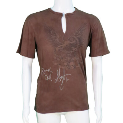 Steven Tyler worn and signed Brown T-Shirt