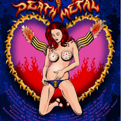 "EMEK - 2004 ""Hot Rod Strpper"" Eagles of Death Metal US Tour Silkscreen Poster"
