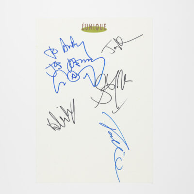 L'Unique Paper Signed and Personalized by Aerosmith
