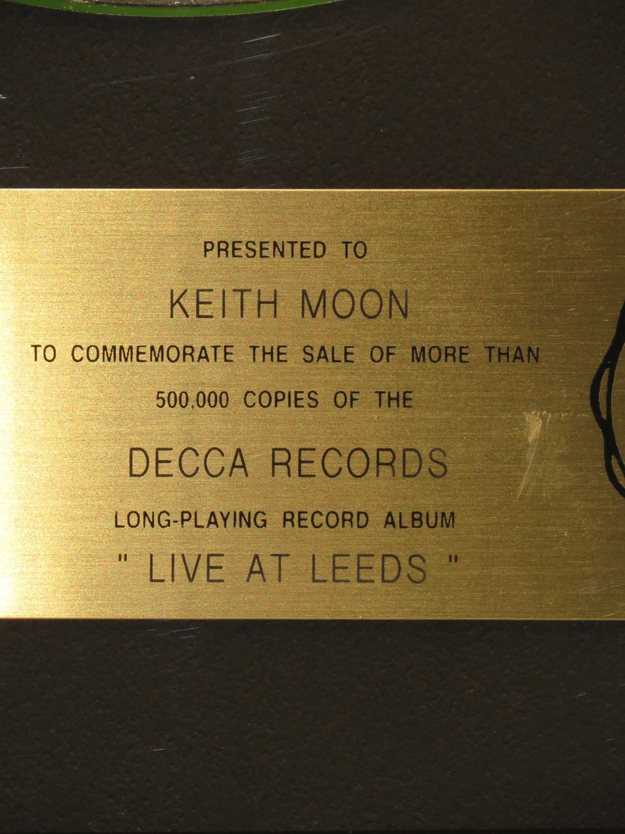Live At Leads RIAA Gold Award Presented To Legendary Keith Moon