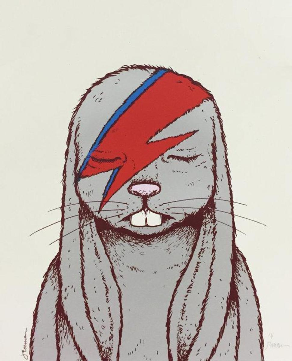 """""""Aleppin Sane David Bowie Rabbit"""" Limited Edition Art Print by Jermaine Rogers"""
