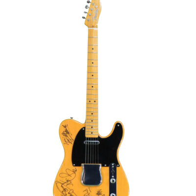 Butterscotch Blonde Fender Telecaster Guitar signed and personalized by the Rolling Stones