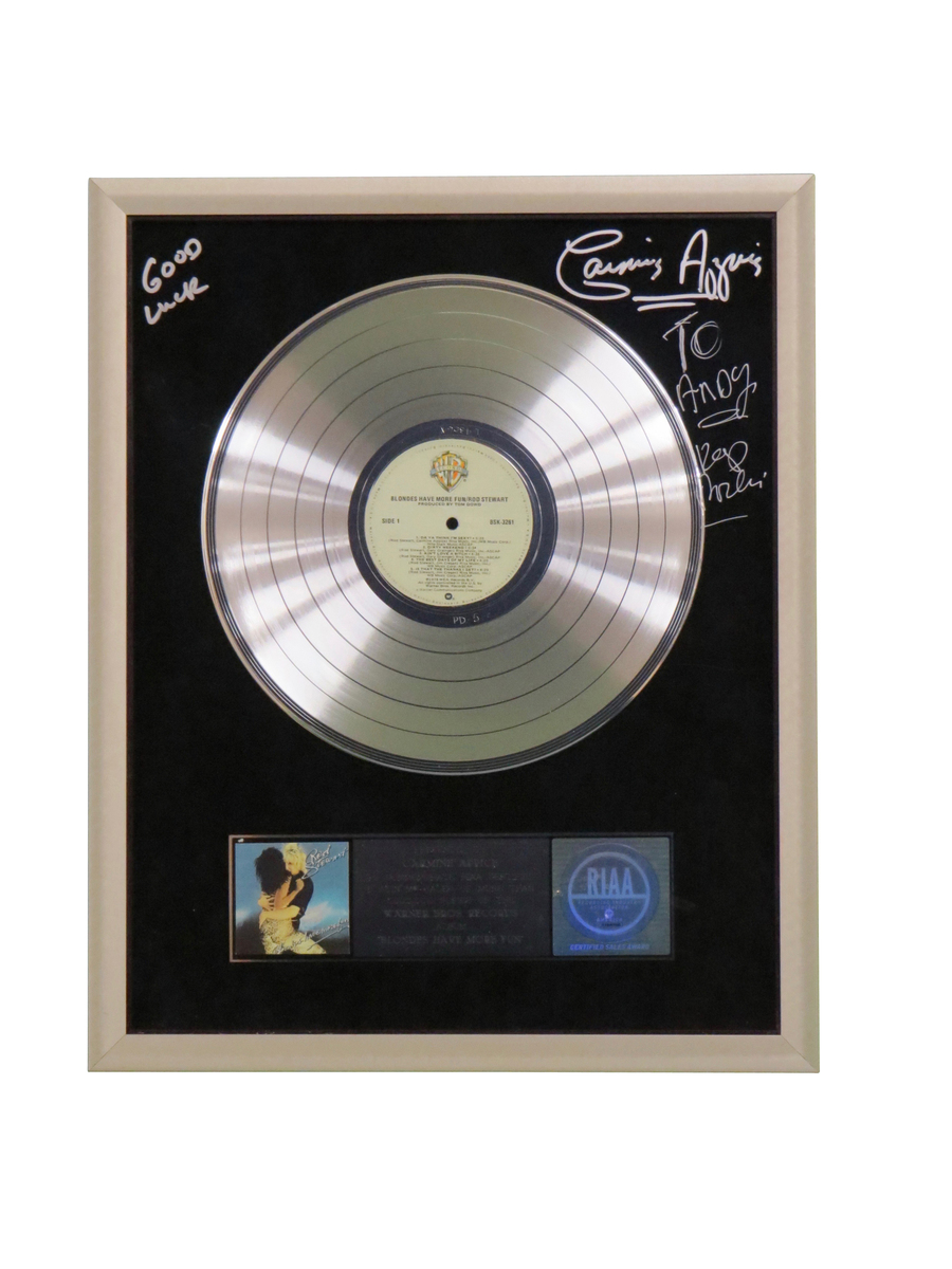 Blondes Have More Fun RIAA Platinum Presented, Signed and Personalized by Carmine Appice