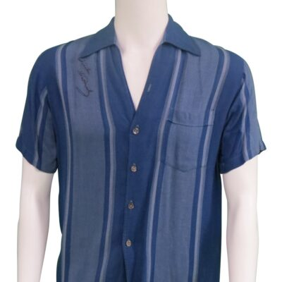 Blue Striped Shirt, owned, worn and signed by Elvis Presley