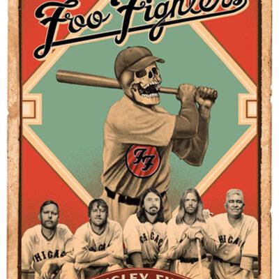 """EMEK - 2015 Foo Fighters """"Wrigley""""- Field Silkscreen Concert Poster"""