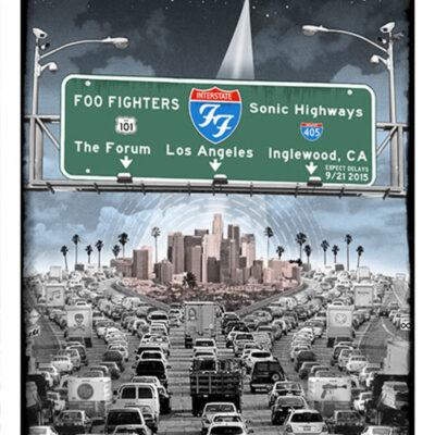 """EMEK - 2015 Foo Fighters """"L.A. Freeway"""" Silkscreen Silkscreen Concert Poster."""