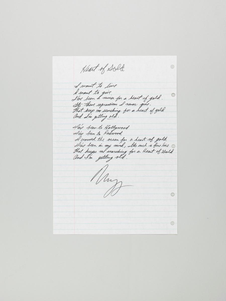 """Handwritten Lyrics """"Heart of Gold"""" by Neil Young"""