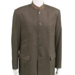 Grey Collarless Jacket with Patterned Hem owned and worn by Paul McCartney