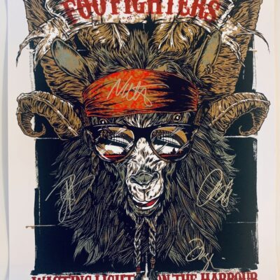 Foo Fighters - 2011 Waisting Light On The Harbor Limited Edition Silscreen Concert Poster by Rhys Cooper - Signed by Foo Fighters