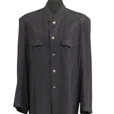 Black collarless shirt worn by Keith Richards around 1990